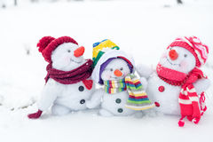 Happy snowman family Royalty Free Stock Photos