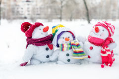 Happy snowman family Royalty Free Stock Photo