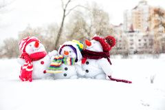Happy snowman family Royalty Free Stock Photography