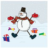 Happy Snowman the first snow and New Year`s gifts.  Stock Photography