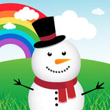 Happy snowman in the forest Royalty Free Stock Image