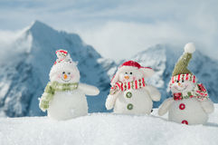 Happy snowman friends Stock Image