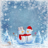 Happy snowman friends Royalty Free Stock Image