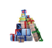 Happy snowman with gifts. Happy snowman with hat, scarf and christmas gifts Stock Photos