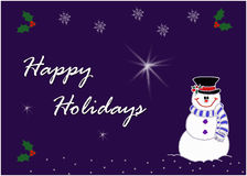 Happy snowman greeting card image Stock Images