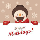 Happy Snowman greets you. Christmas background with snowflakes. Royalty Free Stock Image