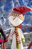 Happy snowman with  hat and scarf outdoor Stock Image