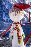 Happy snowman with  hat and scarf outdoor Stock Photos