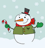 Happy snowman holding a candy cane Stock Photos