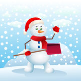 Happy snowman holding snow shovel Stock Image