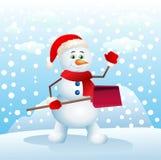 Happy snowman holding snow shovel Stock Image