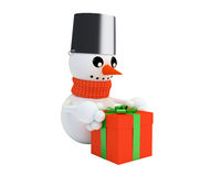 Happy snowman holds a gift Royalty Free Stock Image