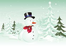 Happy snowman illustration Stock Photo