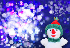 Happy snowman. And marry christmas stock photography