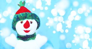 Happy snowman. And marry christmas stock photo