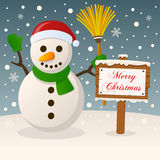 Happy Snowman & Merry Christmas Sign Stock Photo