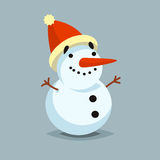 Happy Snowman in red hat vector icon flat helper or game character Stock Images