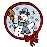 Happy snowman with red ribbon winter holidays card. Happy snowman with red ribbon colorful illustration isolated on white background winter holidays card Stock Image