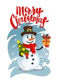 Happy Snowman in red scarf with gift. And christmas tree. Vector illustration Stock Photos