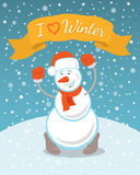Happy Snowman with a Ribbon. Vector illustration of happy dancing snowman in hat and mittens under snowfall with ribbon and inscription. Christmas character Royalty Free Stock Photos