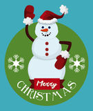 Happy Snowman with Santa's Hat and Merry Christmas Message, Vector Illustration Stock Photo