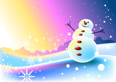 Happy Snowman Scene Royalty Free Stock Photo