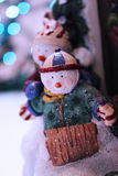 Happy snowman sledding christmas background Stock Photo