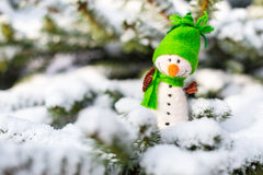 Happy snowman on snow Stock Photography