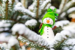 Happy snowman on snow Royalty Free Stock Photos