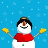 Happy Snowman. With snowflakes background. Editable vector format Christmas card illustration Royalty Free Stock Images