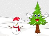Happy snowman with spruce cartoon Royalty Free Stock Image