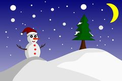 Happy snowman standing in night winter. vector illustration