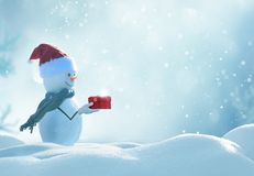 Happy snowman  standing in winter christmas landscape. Royalty Free Stock Photos