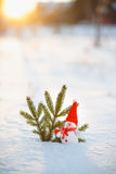 Happy snowman standing in winter christmas landscape.Snow backgr Stock Photography
