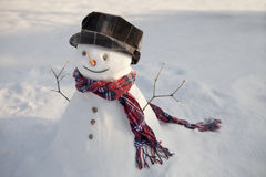 Happy snowman in sun. Snowman with red scarf with evening sun Royalty Free Stock Photo