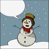 Happy snowman text card Stock Photo