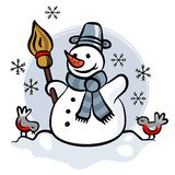 Happy snowman with two little birds colorful illus Royalty Free Stock Photography