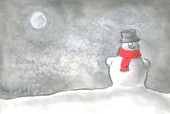 Happy snowman. A watercolor image of a snowman, which can be used as a background or frame Stock Photo