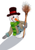 Happy snowman welcome you. A happy snowman welcoming you to enter and join the event Royalty Free Stock Image