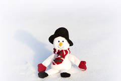 Happy snowman in winter background Royalty Free Stock Photos