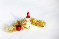 Happy snowman in winter background Stock Images