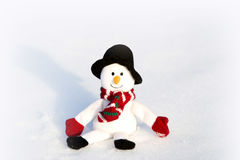 Happy snowman in winter background Royalty Free Stock Photo