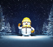 Happy snowman in winter snowy woods. Blue seasonal landscape background 3D illustration Royalty Free Stock Photography
