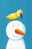 Happy snowman with yellow bird Stock Photography