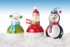 Happy snowmen. Ornaments in snow Royalty Free Stock Photos