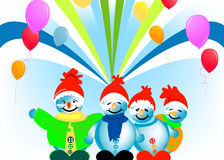 Happy snowmen Stock Image