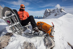 Happy snowshoeing Stock Image