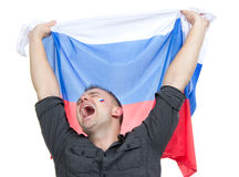 Happy soccer fan with russian national flag Stock Images