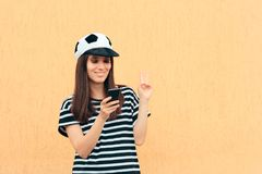 Happy Soccer Football Female Fan Checking Smartphone Stock Photos