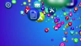 Happy Social Mass Media Balls. A cheery 3d illustration of colorful social mass media balls flying in the blue background. They are covered with various signs Royalty Free Stock Photos